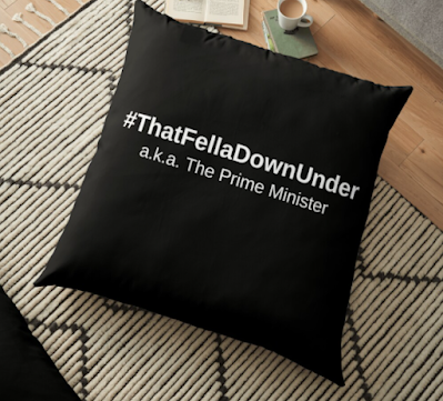 That Fella Down Under Floor Pillow by TET. Available on T-shirts and more...