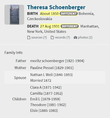 Screen capture of an Ancestry.com tree hint for Theresa Schoenberger.