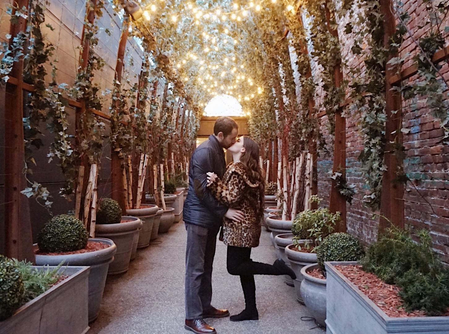 couple kissing at the Nomo Soho Hotel NYC