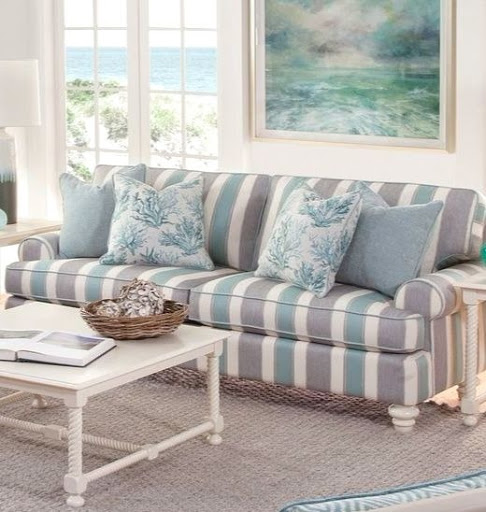 Wide Stripe Sofa Decor Ideas For Coastal Style Living Room Designs
