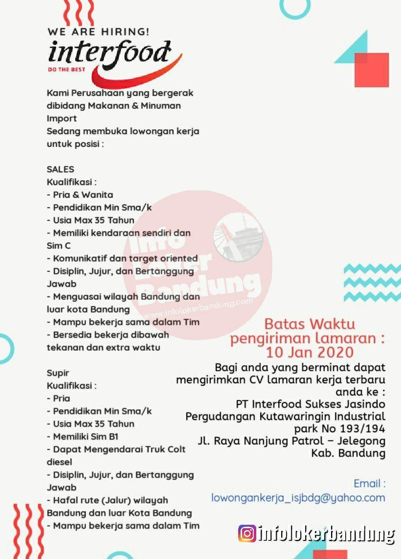 Lowongan Kerja PT.Interfood Sukses Jasindo Bandung Desember 2019