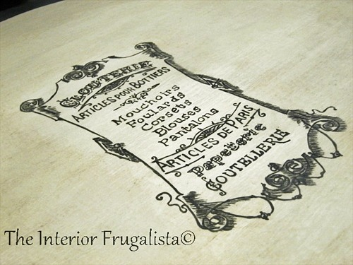 Hand painted French Graphic on Curbside Queen Anne Table