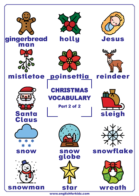 Christmas vocabulary poster featuring Christmas words for ESL classes