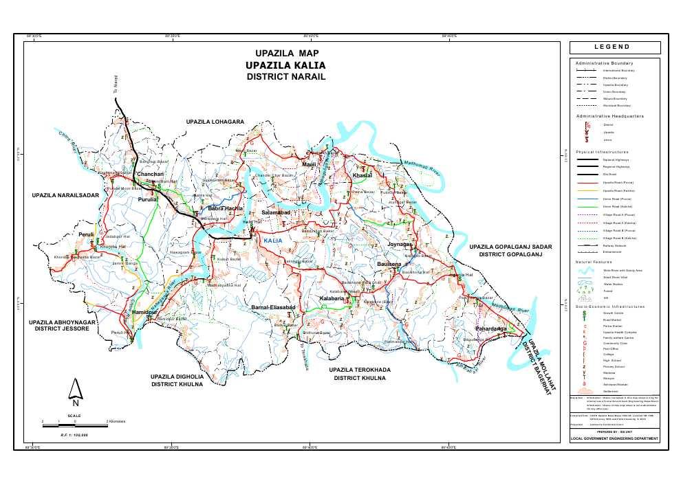 Kalia Upazila Map Narail District Bangladesh
