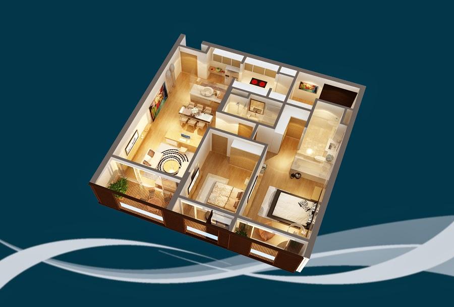 Thiết kế căn hộ CH8 - 133m2 Chung cư Dolphin Plaza