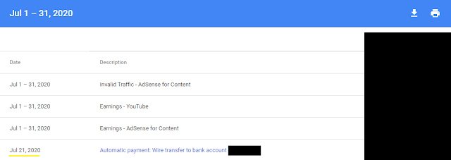 Google Adsense Payment - July 2020