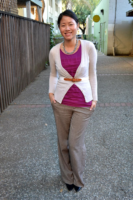 sacramento office fashion blogger angeline evans the new professional blog ann taylor top hm cardigan old navy trousers calvin klein pumps
