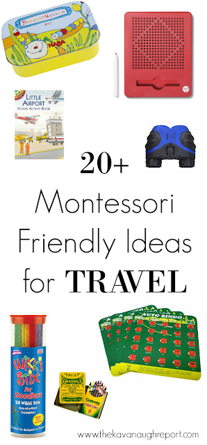 20+ Montessori friendly ideas for travel! Keep kids happy and busy during long plane rides or road trips with these simple ideas.