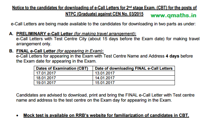 Rrb Ntpc Stage 2 Official Mock Test Cbt Qmaths Ssc Cgl 2018