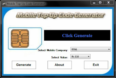 THIS IS INTERNATIONAL MOBILE RECHARGE (TOPUP) CODE GENERATOR SCREENSHOT