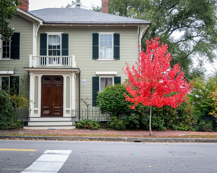 Portland, Maine USA October 2019 photo by Corey Templeton. A tree full of bright red leaves in front of the Harrison B. Brown House on Danforth Street. Mr. Brown was a successful painter of landscapes back in the 19th century.