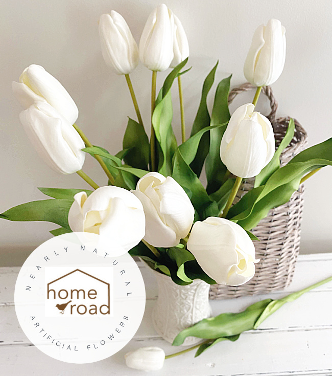 white tulips overhead view with overlay