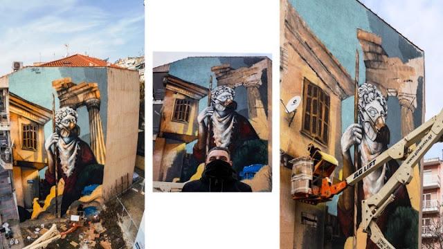 Εκπληκτική τοιχογραφία στη Δράμα  για την εποχή του κορωνοϊού