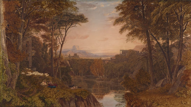 "Artwork, XIX century art, watercolours, ""Classical landscape"" by George Barret Jnr, 1820-1830s."