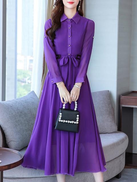 Fold-Over Collar Lightweight Maxi Dress Purple