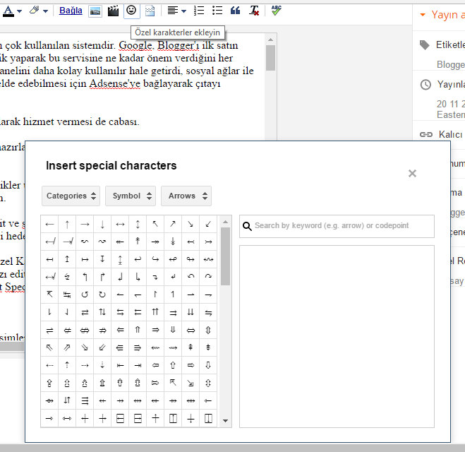 Blogger İnsert Special Characters