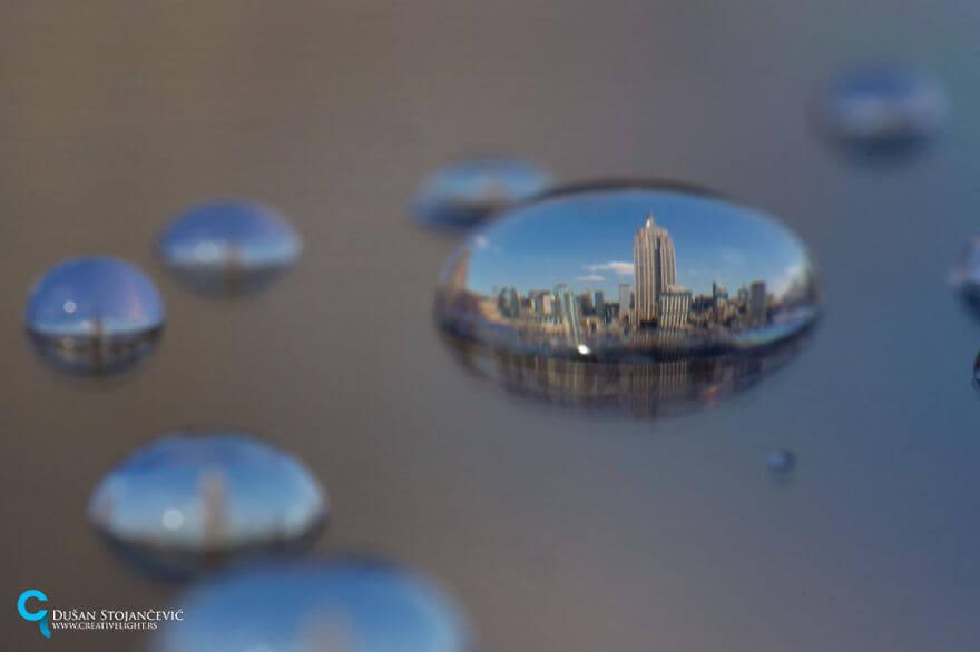 Su Damlacıklarında Şehir Fotoğrafları