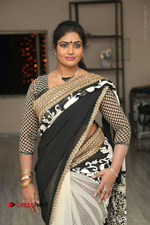 Telugu Actress Jayavani Jayavani Stills in Black Saree at Intlo Deyyam Nakem Bhayam Success Meet  0039.JPG