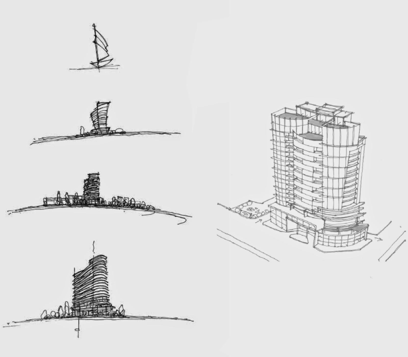 Một kiểu phác thảo tìm ý cho thiết kế chung cư cao tầng