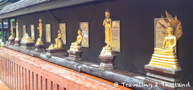 A Buddha for every day at the Wat Phra Kaew in Chiang Rai, Thailand