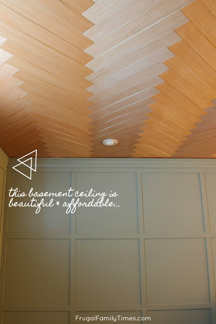 herringbone plywood ceiling
