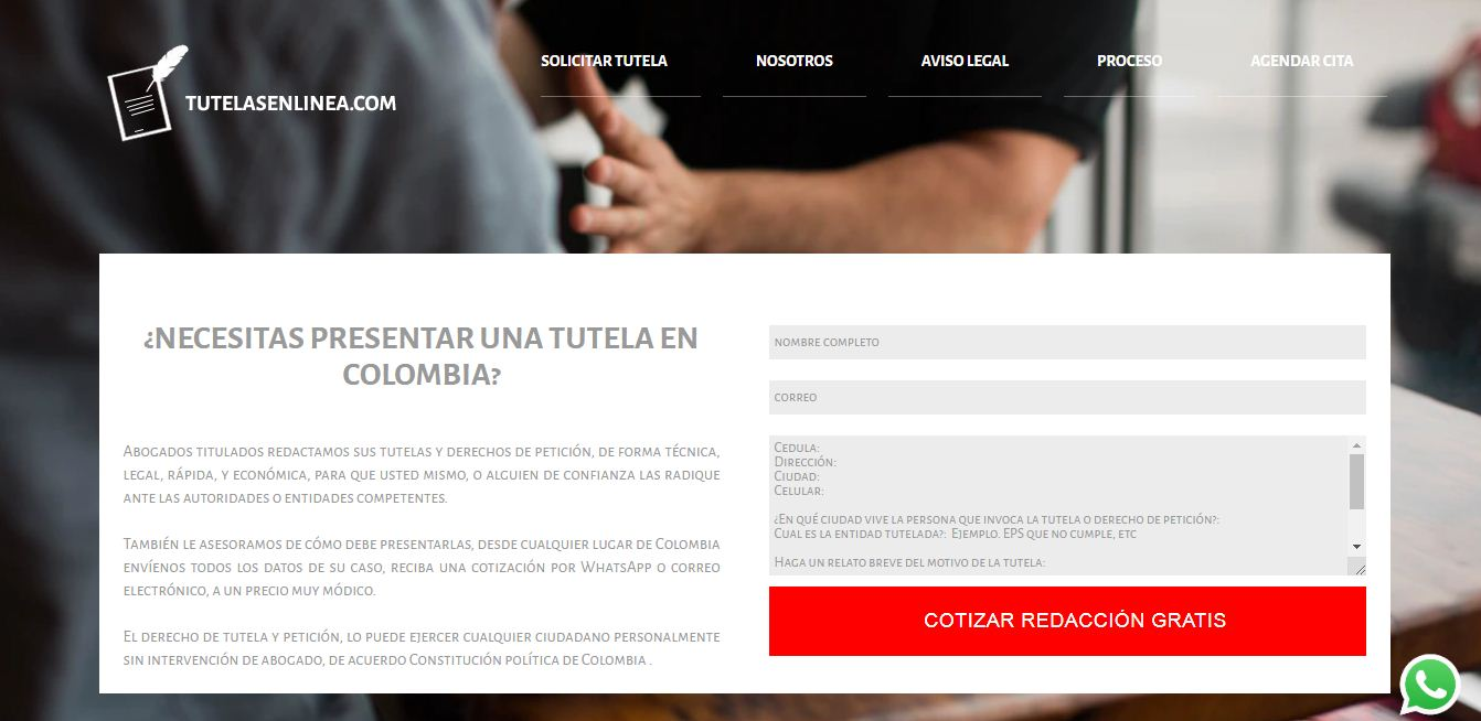 Diseño web tutelasenlinea.com