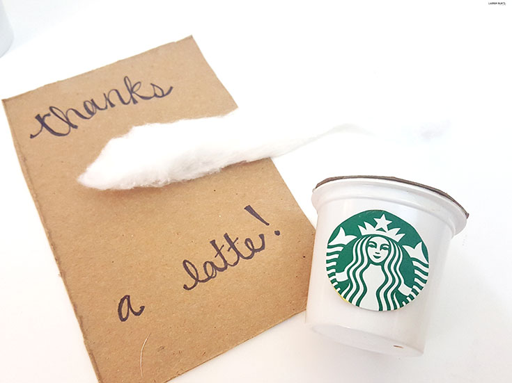 Starbucks is the best and so are your friends, say thank you with this ADORABLE DIY thank you card made mostly from recycled Starbucks Keurig products! #StarbucksCoffeeBlogger