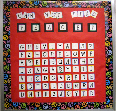 Photo of a Peace word search bulletin board