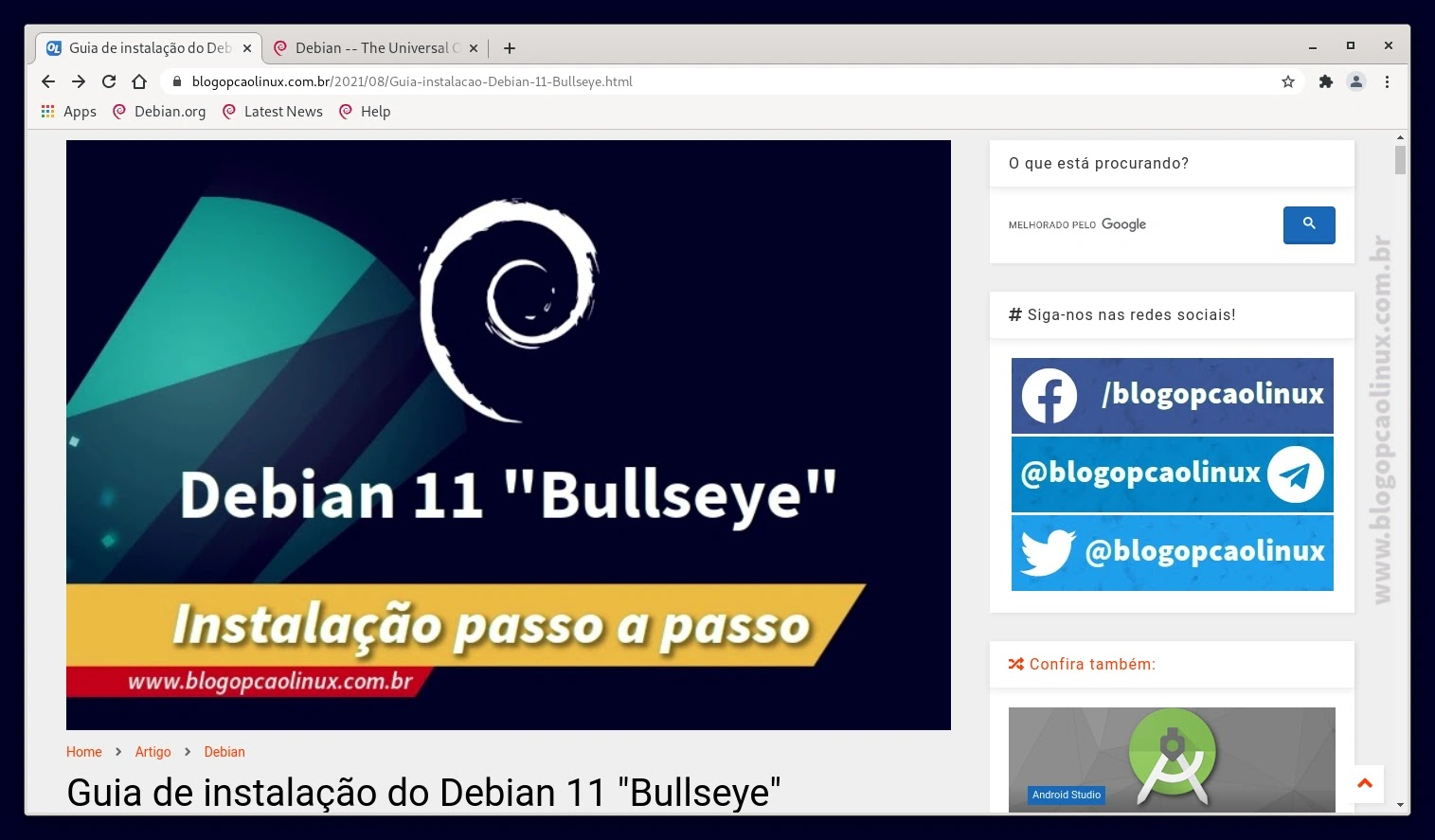 Chromium executando no Debian 11 Bullseye