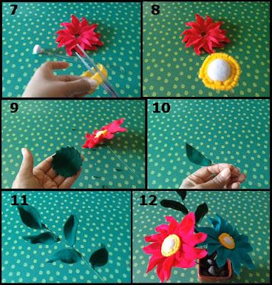 Tutorial Membuat Bunga Gerbera dari Kain Flanel 2