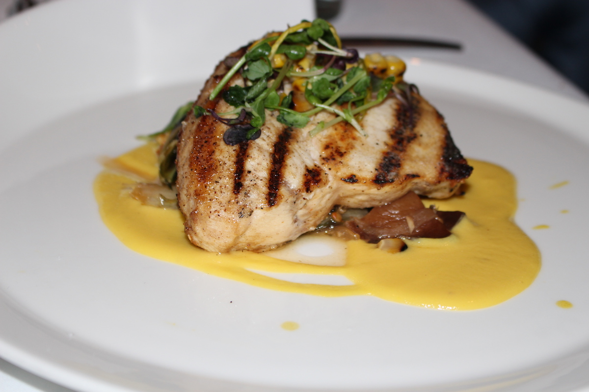 This is a close up of the swordfish steak at Shagbark.