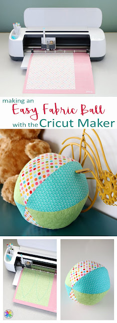 Making an easy fabric ball with the Cricut Maker:  A Bright Corner