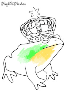 A coloring page of a frog prince