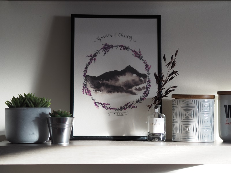 Personalised Bennachie print, framed on a shelf