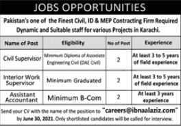 JOBS | Pakistan's one of the Finest Civil, ID & MEP Contracting Firm