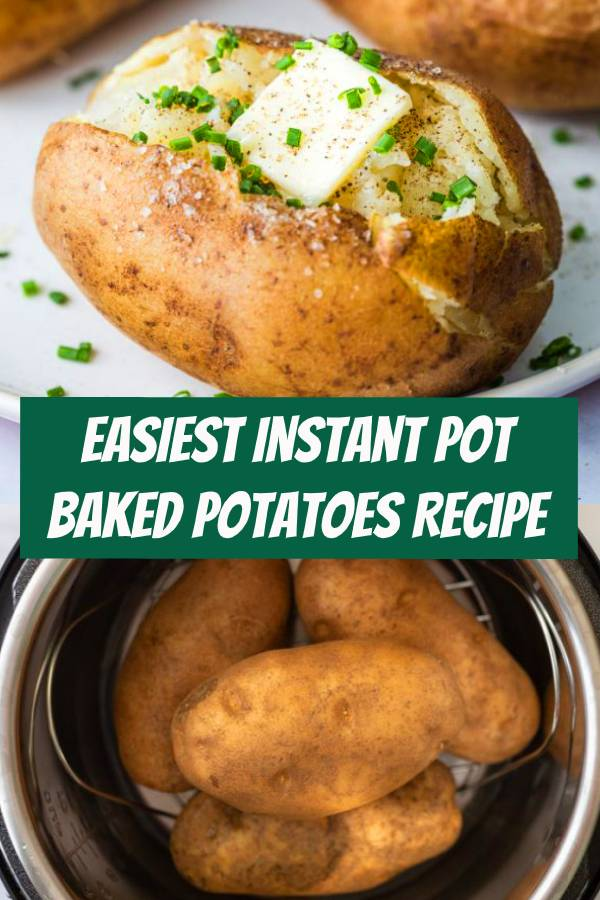 Learn how to make PERFECT Instant Pot Baked Potatoes! It's so easy and a great side dish for any meal. #instantpot #bakedpotatoes #potatoes #sidedish