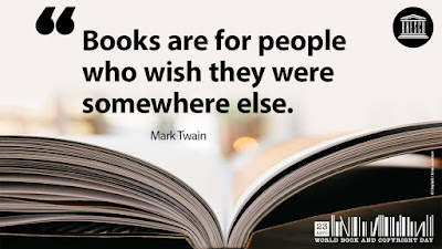 Quote: Books are for people who wish they were somewhere else. by Mark Twain
