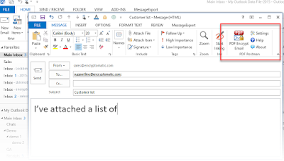 screen shot of PDF Postman in Outlook 2013 toolbar.