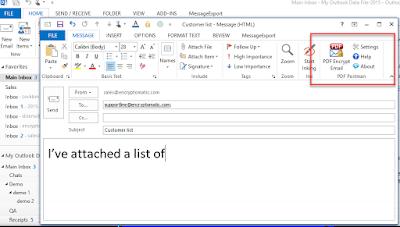 screen shot of PDF Postman in Outlook 2013 toolbar.