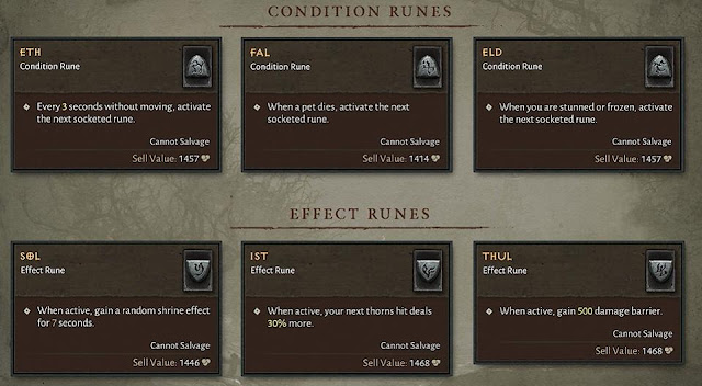 Alguns exemplos de Runas (Foto: Reprodução/Blizzard)