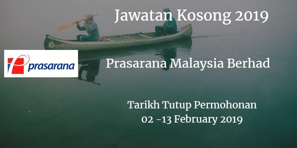 Jawatan Kosong Prasarana Malaysia Berhad 02 - 13 February 2019