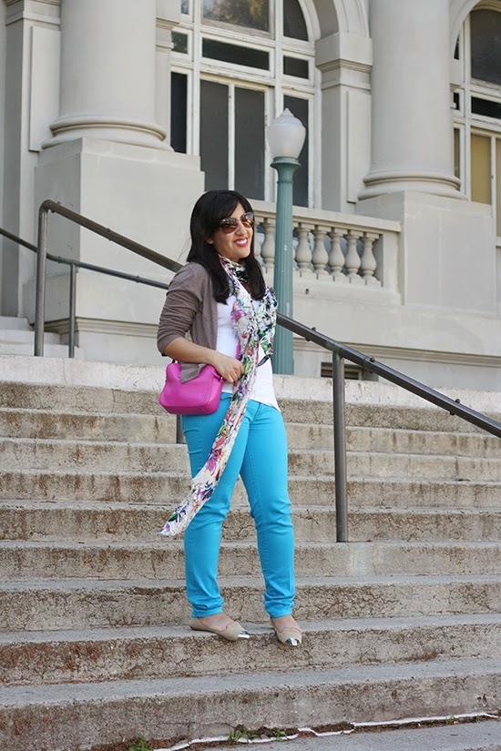 Colorful Turquoise Pants and Floral Print Scarf Weekend Outfit