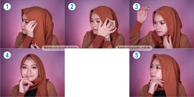 Style Kedua Tutorial Hijab Segi Empat pada saat Terburu-buru Simple dan Modis