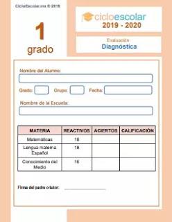 Examen de Diagnóstico Primer grado 2019-2020