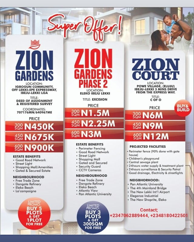 ZION ESTATES, IBEJU LEKKI, LAGOS ( LANDS FOR SALE)