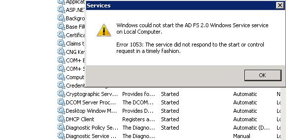 service error 1053