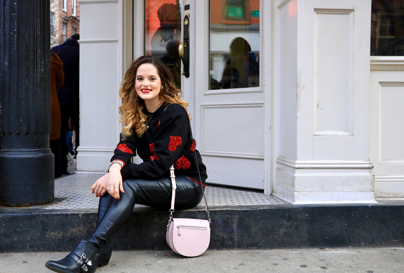 Nyc fashion blogger Kathleen Harper's Valentine's Day sweater