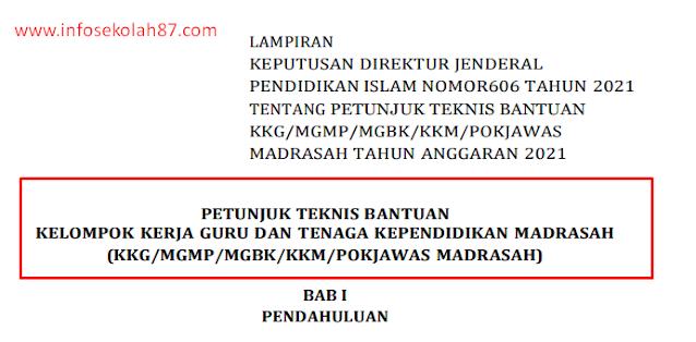 Juknis Bantuan Kelompok Kerja Guru Dan Tenaga Kependidikan Madrasah (Kkg/Mgmp/Mgbk/Kkm/Pokjawas Madrasah)