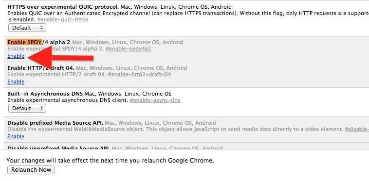 Enable SPDY google chrome flags