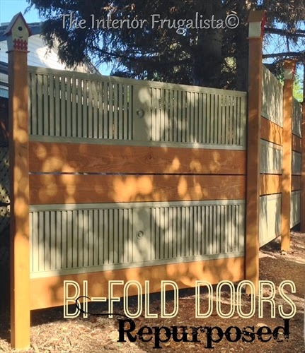 Old louvered bi-fold doors repurposed into a garden screen